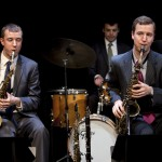 Peter Anderson, Luc Decker (drums), and Will Anderson in LE JAZZ HOT HOW THE FRENCH SAVED JAZZ at 59E59 Theaters.  Photo credit: Eileen O'Donnell