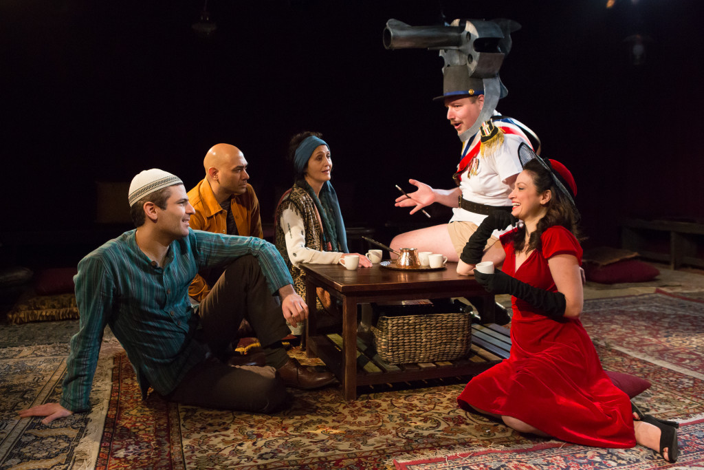 L to R – Juri Henly-Cohn (as Nader), Andrew Guilarte (as Nemo), Jacqueline Antaramian (as Umm), Brendan Titley (as Gun), Roxanna Hope Radja (as Layali)