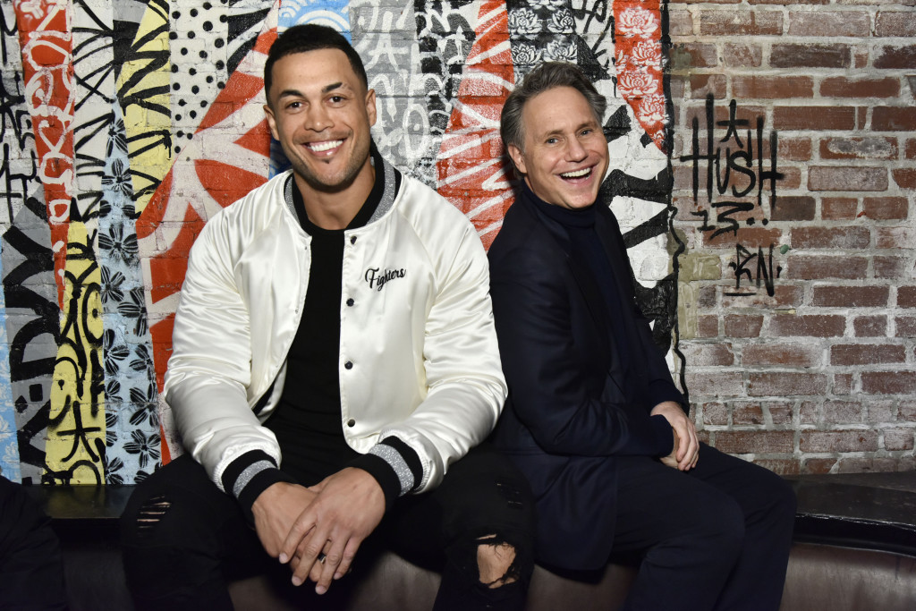 NEW YORK, NEW YORK - MARCH 26: Giancarlo Stanton (L) and Jason Binn attend Jason Binn And DuJour Media Celebrate April Cover Star Giancarlo Stanton At TAO Downtown on March 26, 2019 in New York City. (Photo by Eugene Gologursky/Getty Images for DuJour Media)